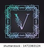 letter v in square frame with...   Shutterstock .eps vector #1472383124