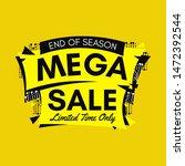 yellow end of season mega sale...   Shutterstock .eps vector #1472392544