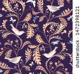 seamless pattern with birds ... | Shutterstock . vector #1472398121