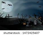 halloween background. graveyard ... | Shutterstock .eps vector #1472425607