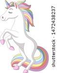 cartoon white unicorn standing... | Shutterstock .eps vector #1472438237