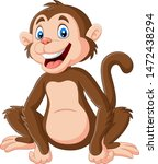 cute baby monkey sitting on... | Shutterstock .eps vector #1472438294