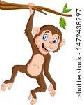 cartoon monkey hanging in tree... | Shutterstock .eps vector #1472438297