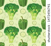 seamless pattern with green... | Shutterstock .eps vector #1472456741