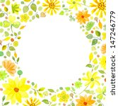 watercolor yellow flowers frame ...   Shutterstock . vector #147246779