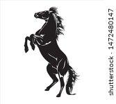 animal illustration black horse ... | Shutterstock .eps vector #1472480147
