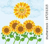 Sun And Sunflower Vector...
