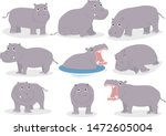 Set Of Hippopotamus Cartoon...
