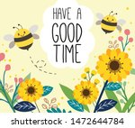 the character of cute bee on... | Shutterstock .eps vector #1472644784
