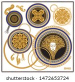 vector set of baroque floral... | Shutterstock .eps vector #1472653724