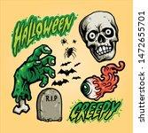 creepy halloween set vector art | Shutterstock .eps vector #1472655701