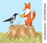 Stock photo friendship between fox and raven little fox offers cheese to crow illustration of two friends 1472699264