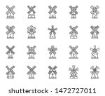 vintage windmill thin line icon ... | Shutterstock .eps vector #1472727011
