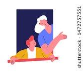 window woman and man looking... | Shutterstock .eps vector #1472757551