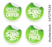 set of green sale stickers with ... | Shutterstock .eps vector #147279134