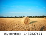 Rural Landscape Field Meadow With Hay Bales After Harvest In Sunny Evening At Sunset Or Sunrise In Late Summer.