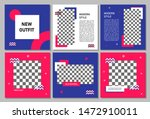set of editable square banner... | Shutterstock .eps vector #1472910011
