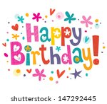 happy birthday text | Shutterstock .eps vector #147292445