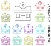 bank multi color icon. simple...