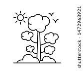 tree  sun and birds line icon....
