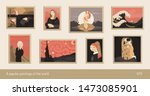 Set Of 8 Vector Paintings  Flat ...