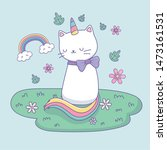 Stock vector cute cat with rainbow tail in the camp kawaii character 1473161531