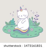 Stock vector cute cat with rainbow tail in the camp kawaii character 1473161831