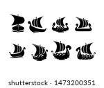 set viking boat ship black logo ... | Shutterstock .eps vector #1473200351