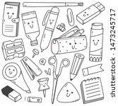 set of kawaii style stationary... | Shutterstock .eps vector #1473245717