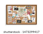 detective board with pins and... | Shutterstock .eps vector #1473299417