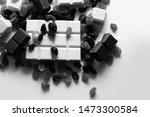 chocolate bar with raisin on... | Shutterstock . vector #1473300584