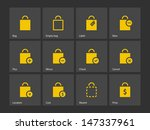 shopping bag icons on gray...
