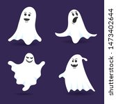 4 cute ghost characters flat... | Shutterstock .eps vector #1473402644