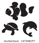 sea animals | Shutterstock .eps vector #147348197