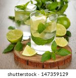 mojito cocktail on a brown table | Shutterstock . vector #147359129