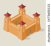 isometric fortress with towers... | Shutterstock .eps vector #1473600131