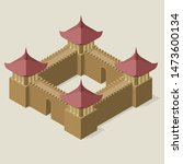 isometric fortress with towers... | Shutterstock .eps vector #1473600134