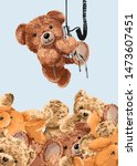 bear doll hanging on claw... | Shutterstock .eps vector #1473607451
