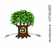 a cartoon tree house with green ... | Shutterstock .eps vector #147361805
