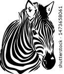 black white zebra africa vector | Shutterstock .eps vector #1473658061