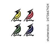 set vector bird beautiful and... | Shutterstock .eps vector #1473667424