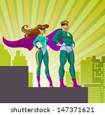 superheroes   male and female.... | Shutterstock .eps vector #147371621