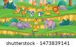 happy animals cartoon in the... | Shutterstock .eps vector #1473839141