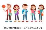 teen young students set bundle... | Shutterstock .eps vector #1473911501