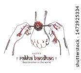 happy raksha bandhan. sketching ...   Shutterstock .eps vector #1473925334