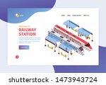 isometric railway station...