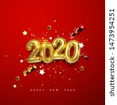 realistic 2020 golden numbers... | Shutterstock .eps vector #1473954251
