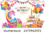 birthday card. celebration... | Shutterstock . vector #1473963551