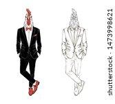 rooster gentleman dressed up in ... | Shutterstock .eps vector #1473998621
