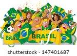 brazilian soccer fans | Shutterstock . vector #147401687